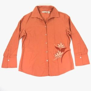 French Laundry Medium Linen Blouse Orange Coral